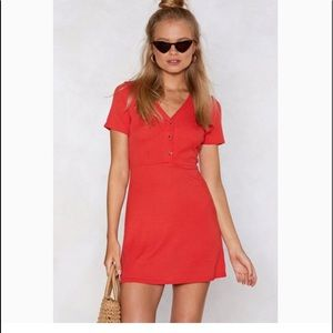 Boohoo ribbed Button Front Skater Dress red